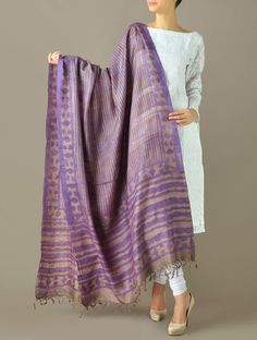 Purple-Grey Stripe Tussar Silk Dupatta