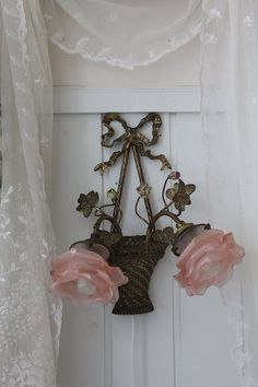 """""""Antique lighting France Antique Rose basket of wall-mounted lamp 2 lights"""" Koh Kong, Fuat Coconfouato [antique & miscellaneous goods] United Kingdom antique France antique antique furniture, antique lighting, antique goods, antique jewelry and interior"""