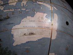 Globe from Coronelli Map of New Holland (Australia) Abel Tasman, New Holland, Western Coast, Coast Australia, New Zealand Travel, East Coast, Tourism, Vintage World Maps, Globe