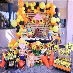 Construction Birthday Parties, Construction Theme, 4th Birthday Parties, 3rd Birthday, Kids Party Decorations, Ideas Para Fiestas, Party Cakes, Balloons, Construction Party