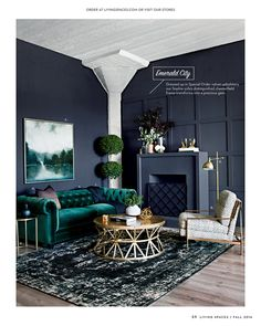 Emerald Tufted Couch In Luxurious Texture Adds The Right Amount Of Softness  To Balance The Moody Colored Walls.