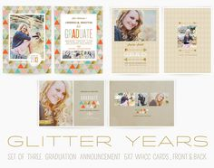 Glitter Years 5x7 Graduation Cards