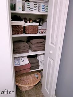Small basket in bottom of bathroom closet so can throw dirty towels in there - transfer to laundry basket later