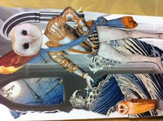 Elizaethian owl collage art by Georgie For Retro G Couture Anthropomorphic seascape shipwreck collage outsider art