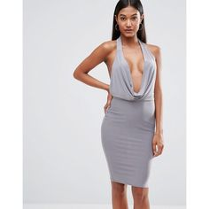 Club L High Neck Bodycon Dress With Cowl Front (£8) ❤ liked on Polyvore featuring dresses, grey, cocktail party dress, grey cocktail dress, lace maxi dress, maxi dress and tall maxi dresses
