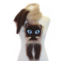 Knitted Scarf / Siamese cat / Fuzzy Soft Scarf / biege brown / cat scarf / knited cat scarf / animal scarf by TaniaSh on Etsy https://www.etsy.com/listing/118053735/knitted-scarf-siamese-cat-fuzzy-soft