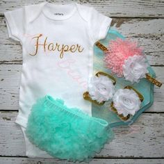 Baby Girl Take Home Outfit Newborn Baby Girl Custom Onesie Bloomers Headband Sandals Set Mint Gold Baby Pink - but not the little shoes and i spose the bloomers are unnecessary