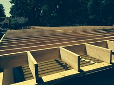 July 4, 2014 Construction started on platform ..floor joists & I beams installed