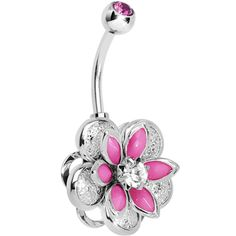 Pink Clear Gem Bursting Blossom Flower Belly Ring | Body Candy Body Jewelry
