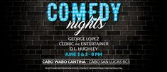Add even more fun to your stay at The Villa Group with our special offer to experience one of the Cabo Wabo´s comedy nights. 🤗✨ Cabo Wabo Cantina Promotion Valid ONLY for the Nights of May thru Jun