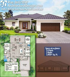 Architectural Designs Home Plan gives you bedrooms, 2 baths and sq. 4 Bedroom House Plans, Family House Plans, New House Plans, Dream House Plans, Modern House Plans, Small House Plans, House Floor Plans, Bungalow Haus Design, Modern Bungalow