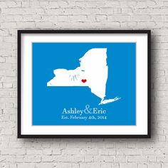 New York State Map. Personalized map art print. Choose any state, province, territory, or country map. Check our store to see more designs :) >> www.personalizedmaps.etsy.com #personalizedmaps #personalizedgifts #handcraft