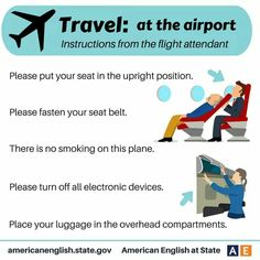 Phrases - Travel: At the Airport - Instructions from the flight attendant Travel English, English Fun, English Tips, English Idioms, English Phrases, English Class, English Lessons, English Vocabulary, English Grammar