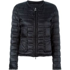 Moncler Lissy Jacket ($860) ❤ liked on Polyvore featuring outerwear, jackets, black, straight jacket, black long sleeve jacket, long sleeve jacket, collarless jacket and black jacket