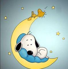 Snoopy cartoon painting idea. Snoopy asleep on the moon with Woodstock.