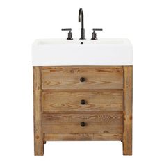 Mason Reclaimed Wood Single Sink Console, Wax Pine Finish - This porcelain and natural wood bathroom vanity might be one of the prettiest th...