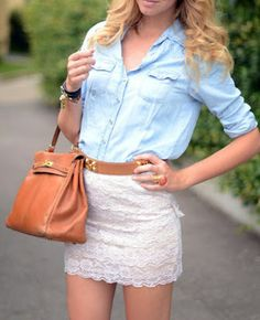 lace skirt and chambray top