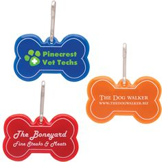 "Dog bone reflective collar tag: New. Imprint area options: Specify on Order: Front: 1 3/8"" x 1/2"", Back: 1 1/2"" x 1/2""."
