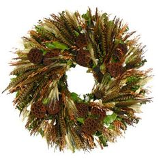 Features:  -Perfect for protected door to welcome family and friends this fall season.  -Filled with wild ringtail pheasant feathers, bearded wheat, avena, green eucalyptus, integrifolia leaves in bro