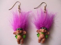 "1980s Norfin Dam ""Treasure Trolls"" Earrings"