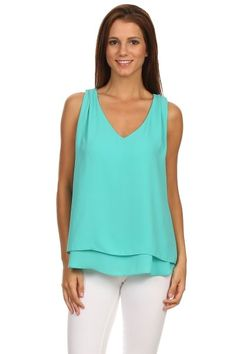 Aqua Woodobe Solid V Neck Pleated Shoulder Cut Out Layered Tank T | Southern Shine Mobile Boutique