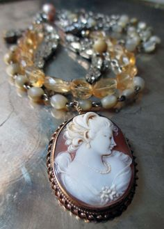 'classic beauty' vintage assemblage necklace with shell cameo and citrines by The French Circus, $225.00