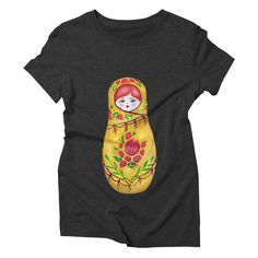 """GET """"Matryoshka"""" by tanjica with 50% Off Code: CC7B755AA3DA80C673F7 matryoshka nesting russian doll,Russia,hand drawn,hand painted,aquarelle,watercolor,original artwork,babushka,eastern europe,red hair,ginger hair,motherhood,family,fertility,pregnancy,matriarch,mother earth,life,vitality,reproduction,vibrant,red and green,joy,happiness,childhood,childrens room,flowers,petals,leaves"""