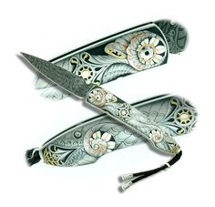 Engraver: Gert Mathys  Knife: William Henry  416 SS  24K Gold, Pure Silver and copper Inlay work
