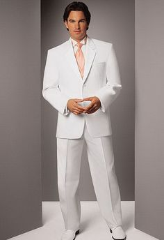 """Having the groom wear white is an excellent way to make an individualist and unique statement at your wedding because it goes completely against the traditional convention of """"bride in white and groom in black."""""""