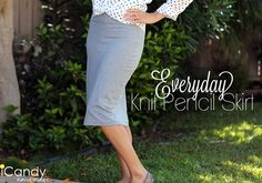 Sew an everyday knit pencil skirt with the free tutorial from iCandy Handmade, featured at Craftown. Pencil Skirt Tutorial, Knit Pencil Skirt, Knit Skirt, Midi Skirt, Sewing Hacks, Sewing Tutorials, Sewing Projects, Free Tutorials, Easy Projects