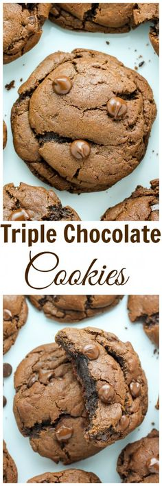 Thick and Chewy Triple Chocolate Cookies - these are out of control delicious!