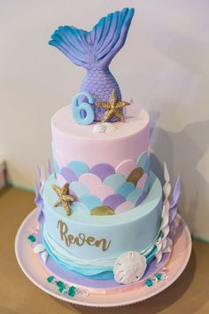 We love this mermaid birthday cake for an unforgettable under-the-sea birthday. If you are planning a future birthday party for your little one, make sure to check out this magical event on PartySlate. Little Mermaid Cakes, Mermaid Birthday Cakes, Barbie Birthday Party, 5th Birthday Party Ideas, Birthday Party Decorations, Girl Birthday, Mermaid Barbie, Mermaid Party Decorations, Party Cakes