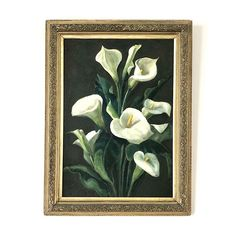 Antique still life oil painting from the Art Nouveau era. The elegant & graceful form of Arum Lillies with their velvet white petals and deep green leaves, create a. Still Life Oil Painting, Floral Paintings, Green Leaves, Vintage Art, The Darkest, Art Nouveau, Antiques, Frame, Decor