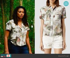 Eva's tropical printed shirt on Under the Dome. Outfit Details: http://wornontv.net/51604/ #UndertheDome