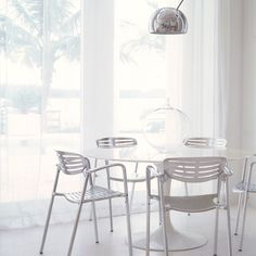 Saarinen Dining Table and Toledo Stacking Chairs Saarinen Table, Eero Saarinen, Chair Pads Walmart, Outdoor Dining, Dining Tables, Dining Room, Metal Patio Furniture, Compact Table And Chairs, Stacking Chairs