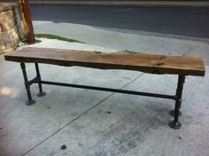 Reclaimed Wood Bench with Pipe Legs by LeventhalVermaat on Etsy
