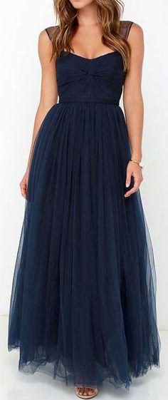 Navy Tulle Maxi Dress. Good for full figure.