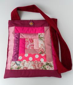 Quilted, Patchwork Shoulder Bag, Matching Coin Purse, Pink, Red £20.00