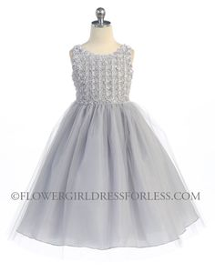 CA_D740SV - Girls Dress Style D740- Sleeveless Tulle Dress with Floral Bodice - Silver Grays - Flower Girl Dress For Less