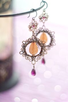 Wire wrapped filigree copper orange and burgundy wine earrings - dangle oxidized antiqued hammered copper - FREE SHIPPING. $59.00, via Etsy.
