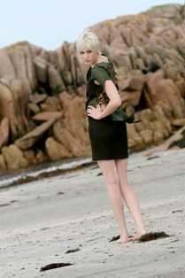 Iona Crawford design with Ardalanish Tweed, photo on Ardalanish Beach