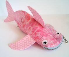 Shark Pencil Case by MinneBites / Pink Bag  Fish Bag by minnebites, $44.00