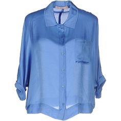 Bgn Shirt ($86) ❤ liked on Polyvore featuring tops, pastel blue, shirts & tops, blue top, short sleeve shirts, pastel shirts and bgn