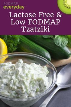 Our Tzatziki is easy to make and is low FODMAP, lactose-free, and gluten free! Tzatziki combines thick, drained yogurt and grated cucumbers but our version includes fresh mint and dill. #fodmapeveryday #lowfodmap #fodmap #ibs #ibsdiet #glutenfree #vegetarian #lactosefree #snack