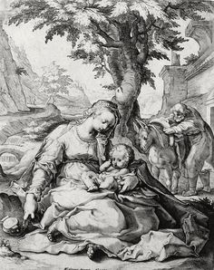 Phillip Medhurst presents Bowyer Bible Gospels print 3457 A rest on the flight into Egypt Matthew 2:13-14 Goltzius on Flickr.  A print from the Bowyer Bible a grangerised copy of Macklins Bible in Bolton Museum and Archives England. Photograph of a print in the Phillip Medhurst Collection (owned by Philip De Vere) at St. Georges Court Kidderminster.