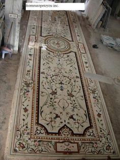 Hand crafted marble inlaid floor