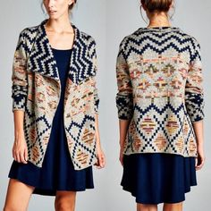 KAYDEN tribal pattern cardigan - GREY/NAVY mix What a pop of color to jazz up any outfit. Great for layering. NO TRADE, PRICE FIRM Sweaters Cardigans