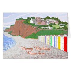 Beach Huts scene, birthday, add name front Card