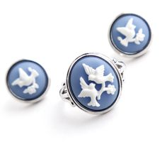 Vintage Bird Cameo Ring & Earring Set - Silver Tone Size 8 Signed Avon Costume Jewelry Demi Parure / White on Blue Love Bird Silhouette by Maejean Vintage, $22.00