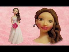 How to make a Bride out of fondant cake topper fimo clay figurine - YouTube